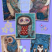 """Материалы для творчества ручной работы. Ярмарка Мастеров - ручная работа Набор текстильных купонов:""""Creative Owls"""". Handmade."""