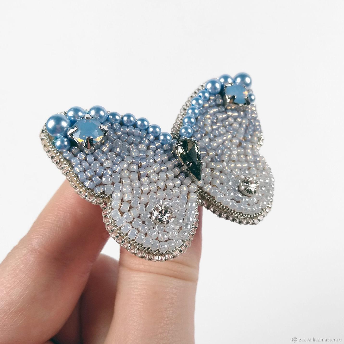 Брошь Бабочка голубая лазурная с эффектом градиента, омбре, Брошь-булавка, Смоленск,  Фото №1