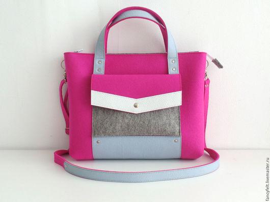 Женские сумки ручной работы. Ярмарка Мастеров - ручная работа. Купить Розовая сумка-портфель из фетра и натуральной кожи. Handmade.