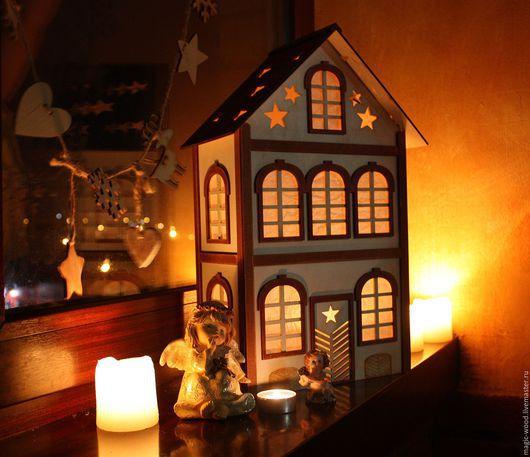 """Освещение ручной работы. Ярмарка Мастеров - ручная работа. Купить """"Рождественский домик"""". Handmade. Белый, дом, свет, ночник, подарок"""