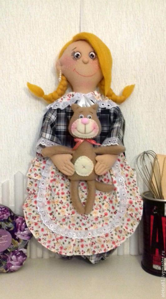 Кухня ручной работы. Ярмарка Мастеров - ручная работа. Купить Кукла пакетница (блондинка). Handmade. Желтый, кукла интерьерная, ленты