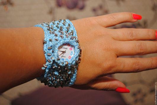 Часы ручной работы. Ярмарка Мастеров - ручная работа. Купить Часы наручные женские. Handmade. Вязание крючком, Вязаный браслет