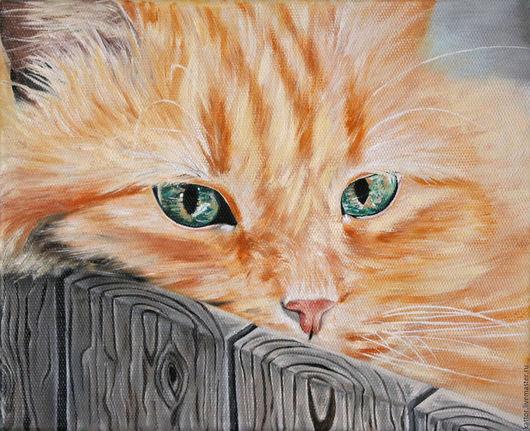 Животные ручной работы. Ярмарка Мастеров - ручная работа. Купить Летний отдых рыжего кота  (24 х 30 см). Handmade.