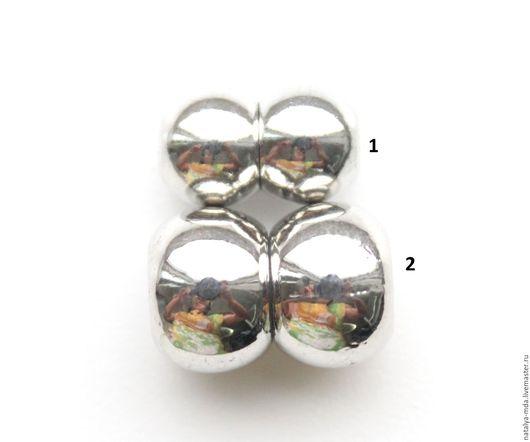 Для украшений ручной работы. Ярмарка Мастеров - ручная работа. Купить Магнитные замки круглые (3 вида). Handmade. серебряный