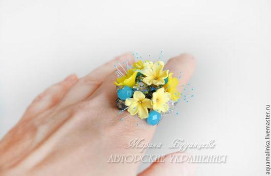 """Кольца ручной работы. Ярмарка Мастеров - ручная работа. Купить Кольцо """"Слепой дождик"""". Handmade. Желтый, кольцо, дождик"""