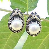 Украшения handmade. Livemaster - original item Earrings with pearls made of 925 silver ALS0017. Handmade.