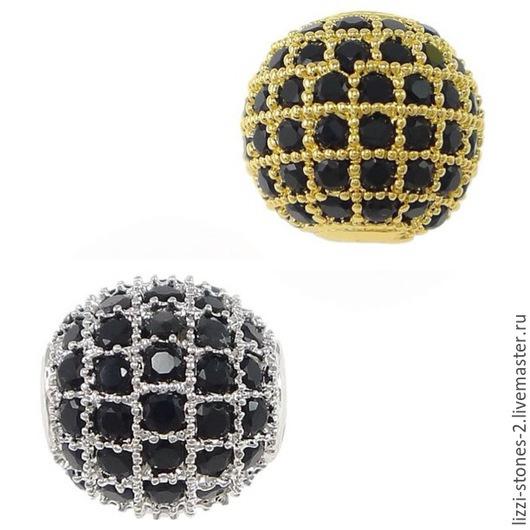 Бусина шар с черными кристаллами золото и серебро 8,10 мм (Milano) Евгения (Lizzi-stones-2)