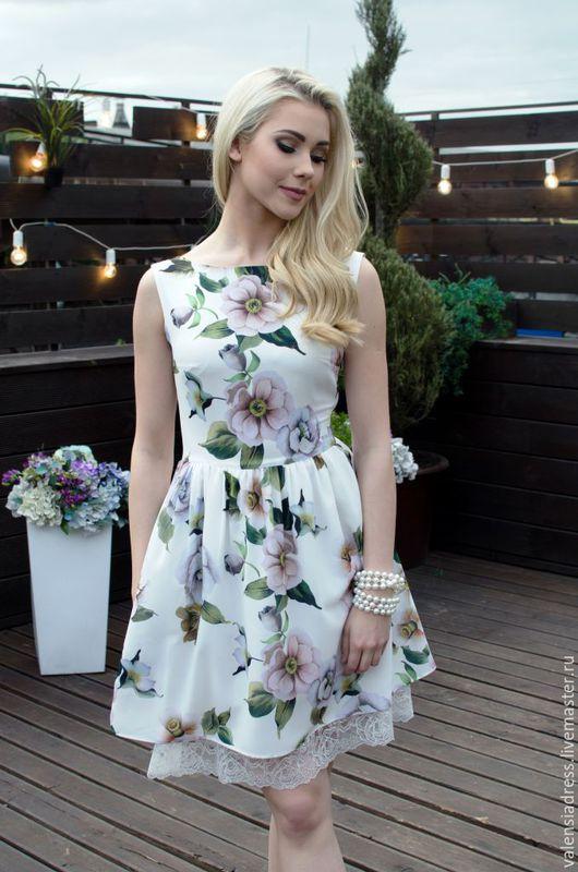 платье летнее, платье белое, платье с кружевом