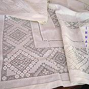 Для дома и интерьера handmade. Livemaster - original item The tablecloth. Linen, white embroidery, line embroidery. Handmade.