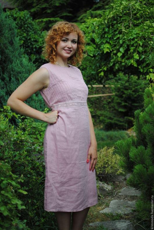 Платья ручной работы. Ярмарка Мастеров - ручная работа. Купить Нежно-розовое платье. Handmade. Бледно-розовый, платье из льна