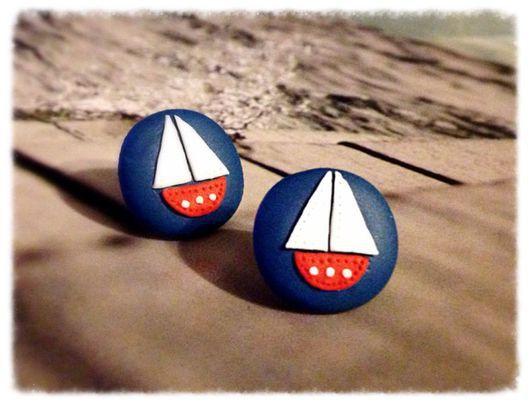 Серьги ручной работы. Ярмарка Мастеров - ручная работа. Купить Кораблики. Handmade. Синий, морской стиль, кораблики, паруса