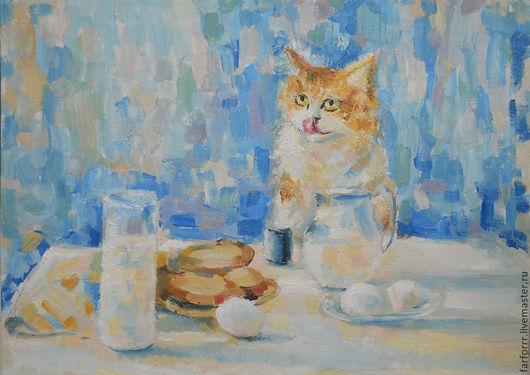 Натюрморт ручной работы. Ярмарка Мастеров - ручная работа. Купить Картина. Любопытный кот и завтрак.. Handmade. Голубой, купить картину