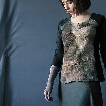 Одежда ручной работы. Ярмарка Мастеров - ручная работа Джемпер дизайнерский из денима, трикотажа и кожи. Handmade.