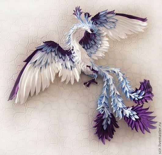 """Элементы интерьера ручной работы. Ярмарка Мастеров - ручная работа. Купить декор на стену """"Жарптица (райская птица)"""" - голубой с фиолетовым. Handmade."""