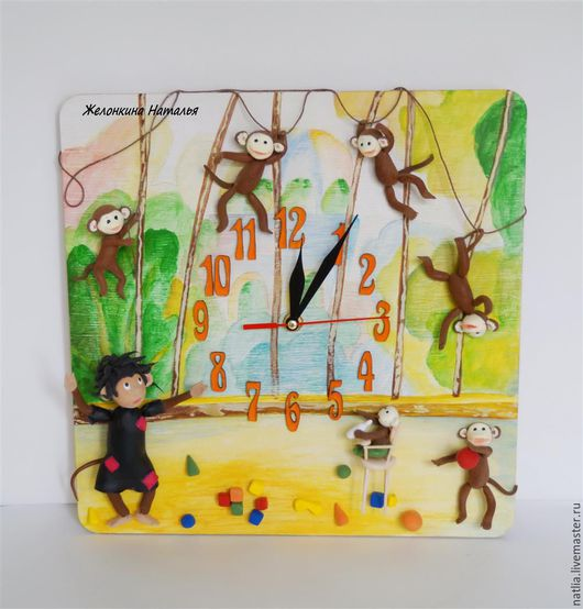 """Часы для дома ручной работы. Ярмарка Мастеров - ручная работа. Купить Часы """"Осторожно! Обезьянки!"""". Handmade. Разноцветный, обезьянки"""