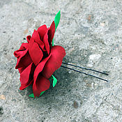 """Украшения ручной работы. Ярмарка Мастеров - ручная работа Шпилька в волосы """"Красная роза"""". Handmade."""