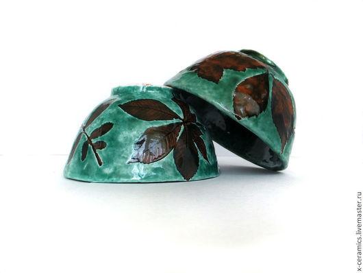 Набор из двух керамических вазочек для сладостей Зеленые листья. Авторская керамика Ксении Гольд