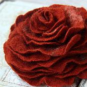 "Украшения ручной работы. Ярмарка Мастеров - ручная работа Валяная брошь ""Рыжая роза"". Handmade."