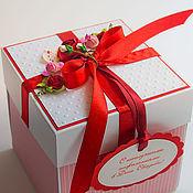 Подарки к праздникам ручной работы. Ярмарка Мастеров - ручная работа Коробочка для денег Красная. Handmade.