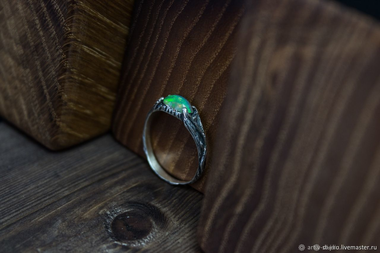 Кольца ручной работы. Ярмарка Мастеров - ручная работа. Купить Кольцо с опалом 'Greenwood', серебро, для примера. Handmade. Зеленый