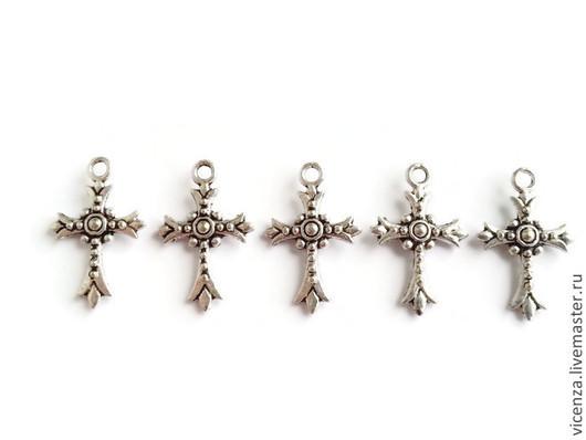 Подвеска `Крестик` 23 х 15 мм (цвет серебро)