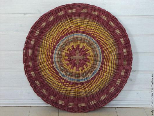 Экстерьер и дача ручной работы. Ярмарка Мастеров - ручная работа. Купить Плетеная тарелка Солнце в зените. Handmade. Бордовый