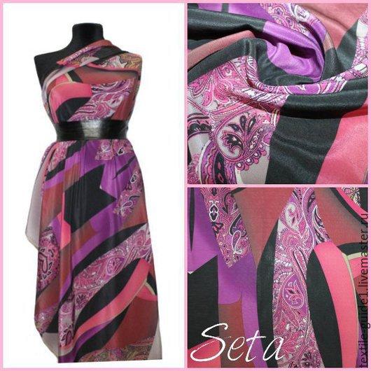 Натуральная шелковая ткань крепового переплетения `ETRO`. Состав шелк 100%, производитель Италия, цена 3332р.