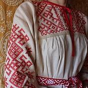 Русский стиль ручной работы. Ярмарка Мастеров - ручная работа женская рубаха льняная обережная. Handmade.