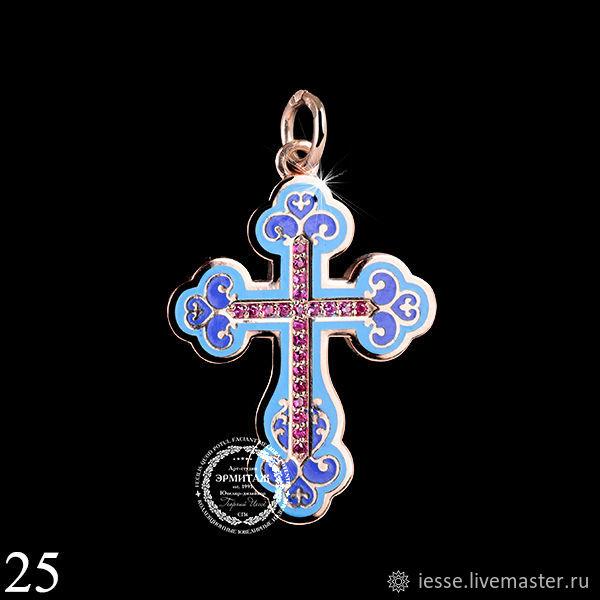 на фото: крест-подвеска из серебра 925 пробы, позолота, рубины нат-22шт, эмаль