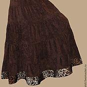 """Одежда ручной работы. Ярмарка Мастеров - ручная работа Юбка длинная вельветовая коричневая с каймой """"Шоколад"""". Handmade."""