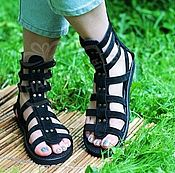 Обувь ручной работы handmade. Livemaster - original item Greek Sandals with zipper with suede straps and leather Black. Handmade.