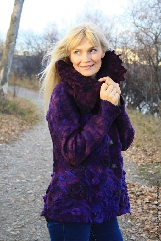 Верхняя одежда ручной работы. Ярмарка Мастеров - ручная работа. Купить Куртка-жакет валяная Виолетта. Handmade. Тёмно-фиолетовый