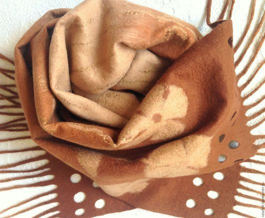 Шарфы и шарфики ручной работы. Ярмарка Мастеров - ручная работа. Купить Шарф валяный на батисте  Оттенки коричневого. Handmade.