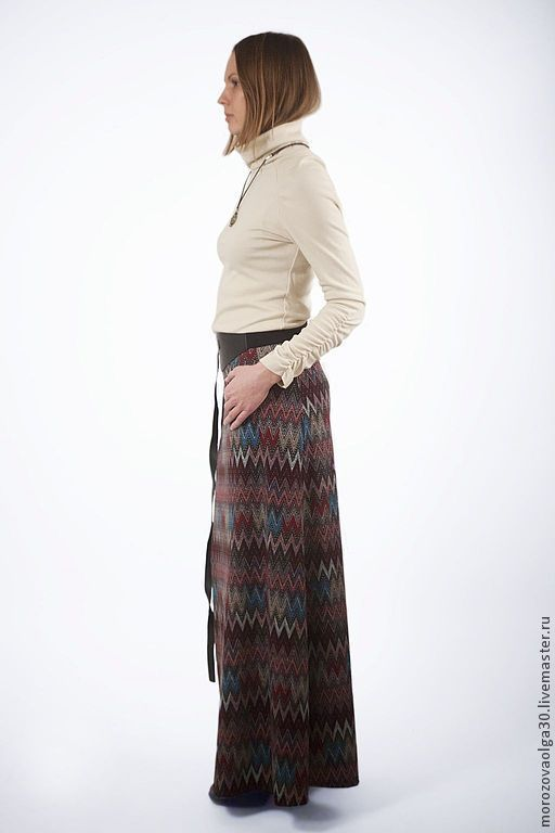 трикотажная юбка в пол Колокол с узором зигзаг в стиле Миссони