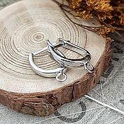 Материалы для творчества handmade. Livemaster - original item Earrings with a lock 18 mm platinum (3972). Handmade.