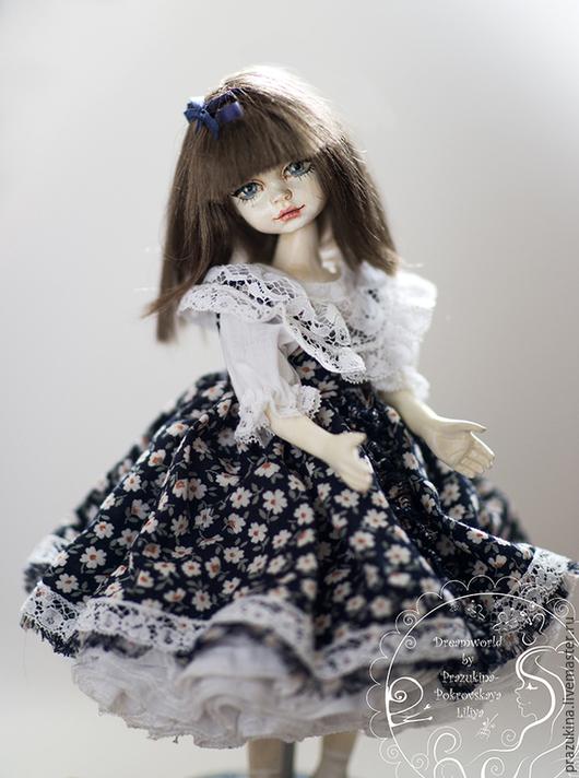 Коллекционные куклы ручной работы. Ярмарка Мастеров - ручная работа. Купить Фарфоровая подвижная кукла Эмми. Handmade. Тёмно-синий