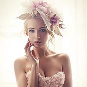 Шляпка-роза - Антуанетта. Цветы из шелка.