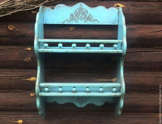"""Мебель ручной работы. Ярмарка Мастеров - ручная работа. Купить Полка """"Village"""". Handmade. Голубой, сосна"""