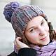 шапка, шапки, шапка вязаная, шапка женская, зимняя шапка, шапка с помпоном, сиреневая шапка, голубая шапка,модные шапки, шапка в подарок, подарок для девушки, подарок на новый год
