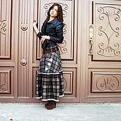 Skirts handmade. Livemaster - original item Warm skirt plaid MIDI Maxi,stroynaya wool