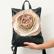 Сумки и аксессуары handmade. Livemaster - original item Black backpack, genuine leather, with flower.. Handmade.