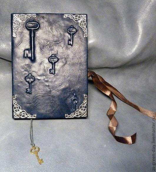 Записные книжки ручной работы. Ярмарка Мастеров - ручная работа. Купить Книга 5 ключей. Handmade. Тёмно-синий, кожа