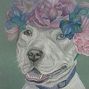 Картины и панно ручной работы. Ярмарка Мастеров - ручная работа Питбуль.собака - улыбака. Handmade.