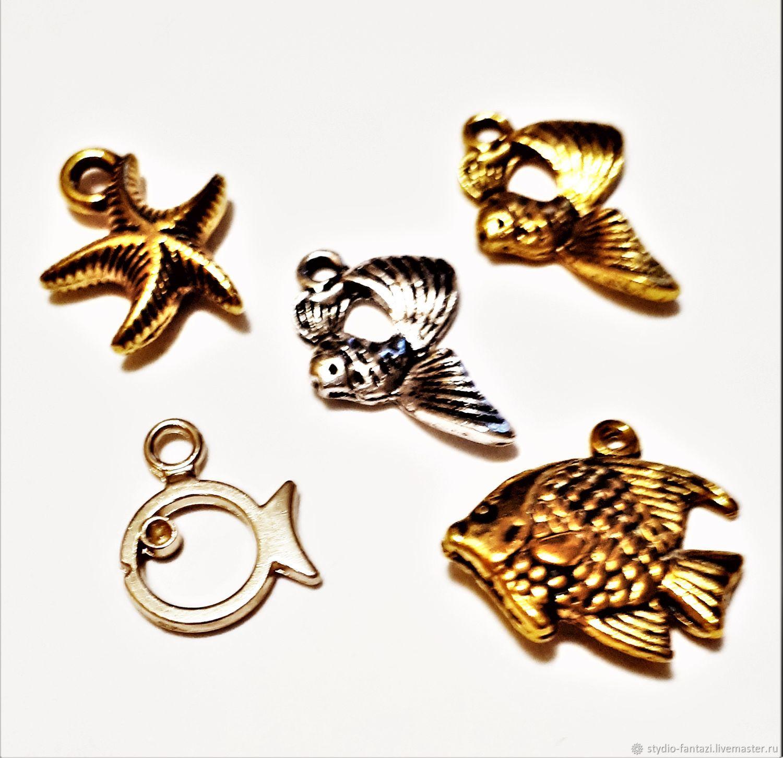 Для украшений ручной работы. Ярмарка Мастеров - ручная работа. Купить Подвески металлические - золотая рыбка, морские звезды, ракушки. Handmade.