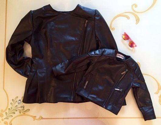 Верхняя одежда ручной работы. Ярмарка Мастеров - ручная работа. Купить Кожаные  куртки-косухи для мамы и дочки. Handmade. Косуха