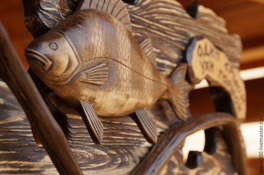 Животные ручной работы. Ярмарка Мастеров - ручная работа. Купить Панно Окунь. Handmade. Деревянная скульптура, подарок в дом, природа
