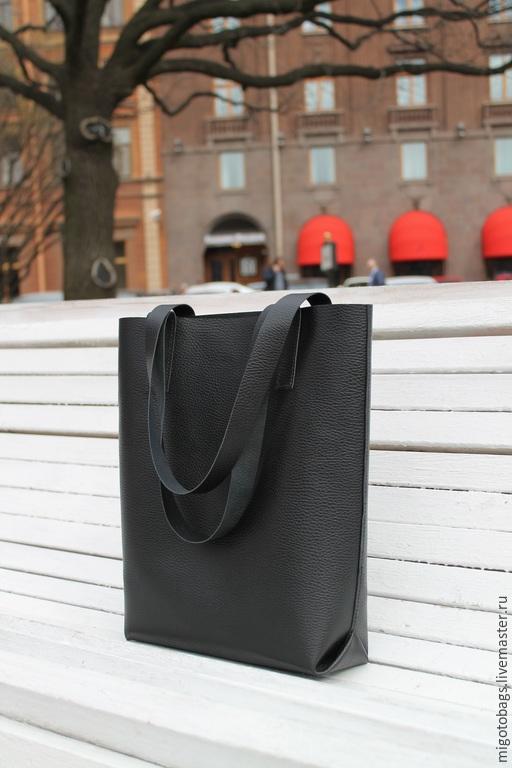 Женские сумки ручной работы. Ярмарка Мастеров - ручная работа. Купить сумка кожаная (мешок) 589. Handmade. Черный, migotobags