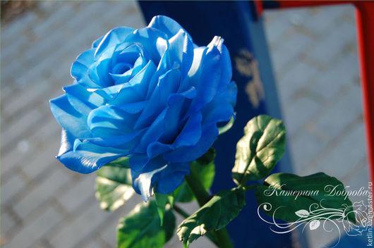 """Цветы ручной работы. Ярмарка Мастеров - ручная работа. Купить Роза синяя """"blue"""". Handmade. Синий, цветы ручной работы"""