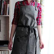 Для дома и интерьера ручной работы. Ярмарка Мастеров - ручная работа Серый фартук для бариста, для художника, для бармена FK-040. Handmade.