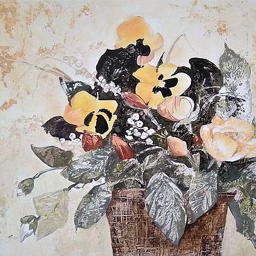 """Картины и панно ручной работы. Ярмарка Мастеров - ручная работа Картина: """"Букет"""" графика, бумага, масло. Handmade."""